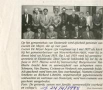 Krantenartikel over pensionering Lucien De Meyer, Oosterzele, 1995