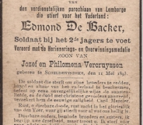 Bidprentje Edmond De Backer, gestorven tijdens WOI