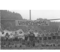 Groepsfoto leiding chiro Melle op kamp, Brisy, 1978