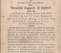 Bidprentje Theodule Auguste D'Hondt, Diksmuide, 1918
