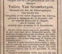 Bidprentje Valère Van Grembergen, Adegem, 1918