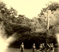Vlaggengroet, kamp Heverlee, 1947.