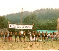 Leidingsformatie op kamp, Manderfield, 1973.