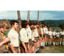 De leidingsformatie op kamp, Grandhan, 1980