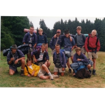 Groepsfoto van de kerels, Opont, 1999.