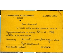 Uitnodiging groepsmis chiro Melle, 1968
