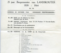 25 jaar burgemeester Jean Van de Velde, feestprogramma, Landskouter, 1964