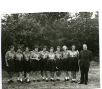 Chiro Melle Geertrui. De leiding op kamp in Geel, 1967.