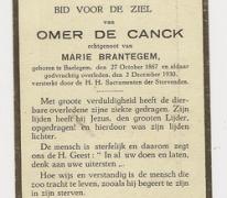 Bidprentje Omer De Canck, Balegem, 1930