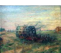 Brandende zeppelinhal van Evere, 1915.