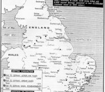 Overzichtskaart van Duitse aanvallen op Groot-Brittannië, 1914-1917