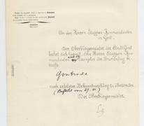Document van de burgemeester van Gent aan de Etappenkommandant in verband met Gontrode, 1914-1918