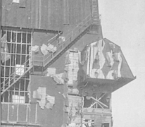 Achterkant van de hal op het vliegveld van Gontrode, 1915