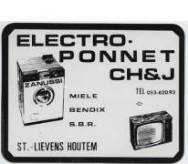 Visitekaartje elektrowinkel Ponnet, Sint-Lievens-Houtem, 1969-1978