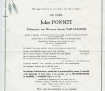 Rouwbrief Jules Ponnet, Sint-Lievens-Houtem, 1983