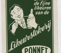 Speelkaart likeurstokerij Ponnet, Sint-Lievens-Houtem, 1930-1970