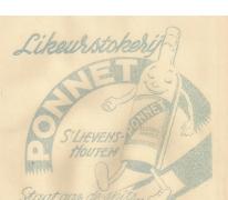 Kaartje likeurstokerij Jules Ponnet, Sint-Lievens-Houtem, 1923-1974