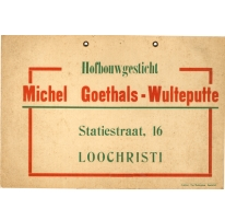 Reclamebord hofbouwgesticht Goethals-Wulteputte, Lochristi, 1935-1940