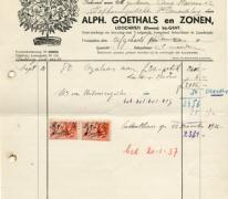 Factuur bloemisterij Goethals, Lochristi, 1937
