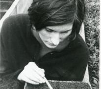 Lutgart Goethals aan het verspenen, Lochristi, 1967