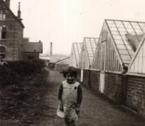 Marie-Thérèse Volckaert op de bloemisterij, Merelbeke, 1934