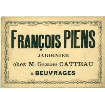 Visitekaartje van François Piens, Destelbergen, eind 19e eeuw.