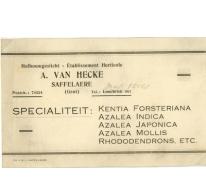 Visitekaartje bedrijf Adolf Van Hecke, Zaffelare, 1910-1920