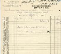 Factuur bloemisterij Lossy, Destelbergen, 1938
