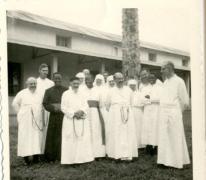 Pater Alfons Mabilde en medebroeders, Belgisch-Congo, ca. 1960