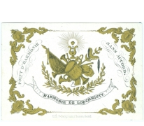 Porseleinkaart Harmonie Lochristi aan Dhr. Maximiliaan Vanden Plas, 1843