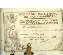 Getuigschrift van verdienste, Destelbergen, 1937