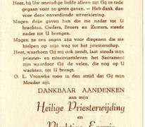 Herdenkingsprentje van de priesterwijding van Raymond Van De Vijver, Oordegem, 1952
