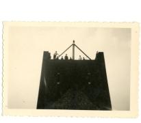 Bouw van de nieuwe kerktoren, Letterhoutem, 1934-1936