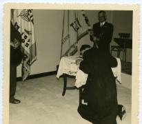 Zegening kruisbeeld, zaal Drie Koningen, Merelbeke, 1959