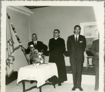 Nieuwe Gildevlag in zaal Drie Koningen, Merelbeke, 1961