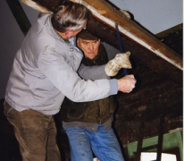 Verbouwingen aan dak van 't Werkhuis, Merelbeke, 1999