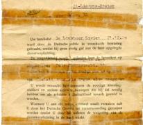 Aanhoudingsbevel  Livien De Landsheer, Sint-Lievens-Houtem, 1944