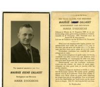 Tot troostvol aandenken van Heer Maurice Oscar Callaert, Scheldewindeke, 1954