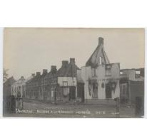 Uitgebrande huizen op de Brusselsesteenweg, Kwatrecht, Melle, 1914