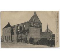 Door de Duitsers in brand gestoken huis, Kwatrecht, Melle, 1914-1918