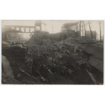 Achterzijde prentkaart opgeblazen viaduct, Melle, 1914-1918