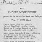 Herinneringsprentje  der Pl. H. Communie van Angèle Monsecour, Balegem, 1944